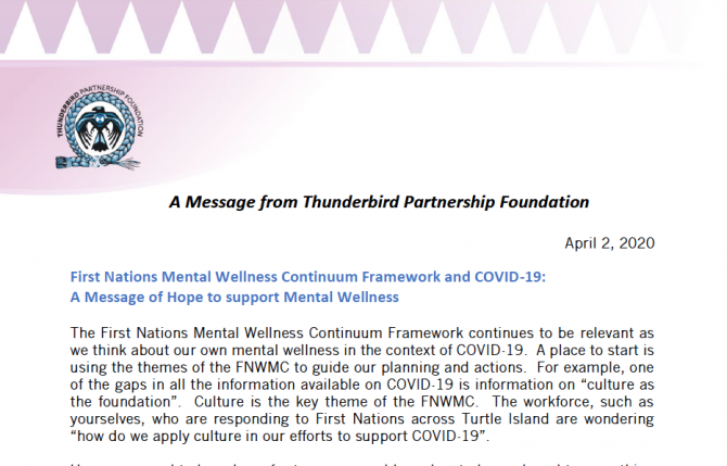 A message of hope to support First Nations communities during COVID-19, shared during the First Nations Health Managers Association's weekly Town Halls.