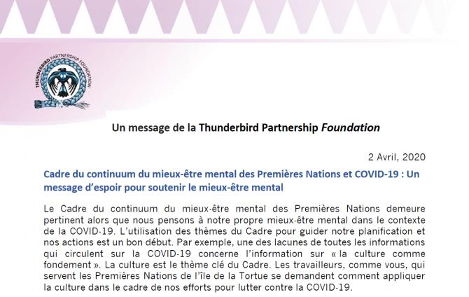 Un message d'espoir aux Premières Nations lors de COVID-19